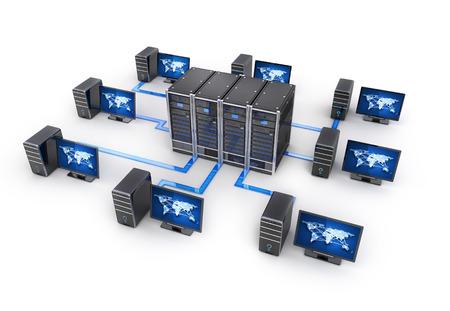 Rij server en computers, concept internet (gedaan in 3d rendering) Stockfoto - 61418174
