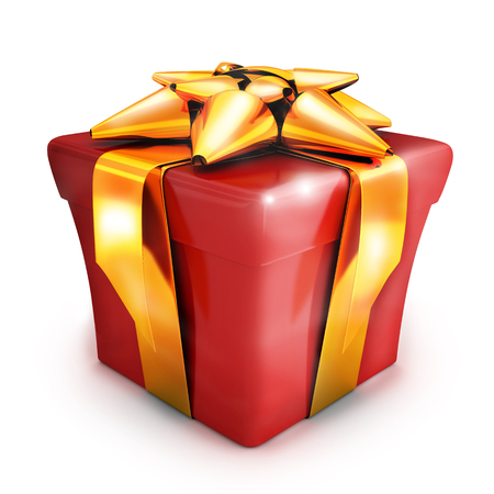 fancy box: Gift red and gold ribbon (done in 3d rendering)