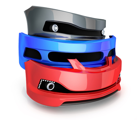 spare part: Three bumper car (done in 3d rendering) Stock Photo