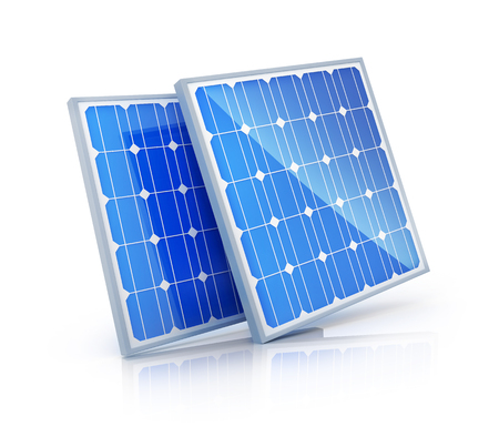 solar array: Modern Solar panel on white background (done in 3d rendering)