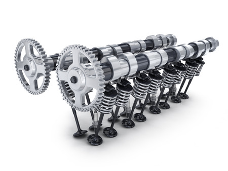 spare part: Camshaft and valve car on white background (done in 3d rendering) Stock Photo