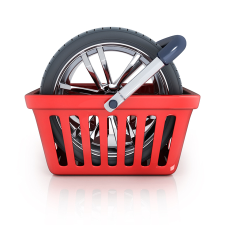 car spare parts: Shop bag and wheel (done in 3d rendering)