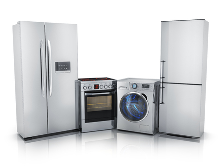 consumer electronics: Modern consumer electronics,Fridge,washer and electric-cooker (done in 3d rendering)