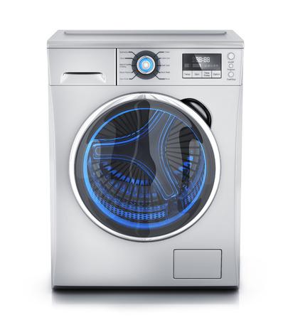 lavadora con ropa: lavadora de ropa moderna sobre fondo blanco (hecho en 3D)