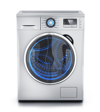 white clothes: Modern clothes washer on white background (done in 3d rendering) Stock Photo