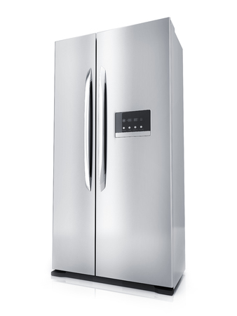 major household appliance: Modern big refrigerator on white background (done in 3d rendering)