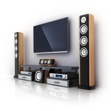 equipo de sonido: Modern TV y sistema de sonido (hecho en 3D) Foto de archivo