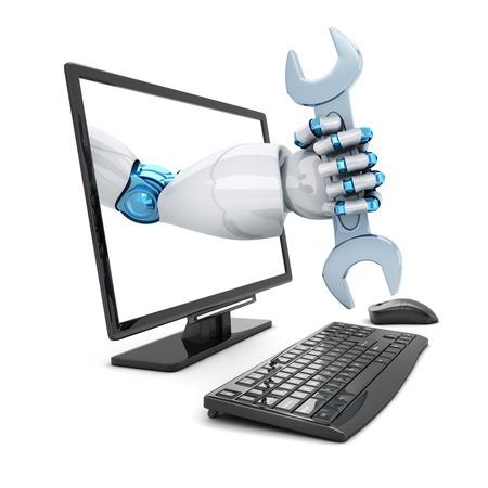 mending: Hand robot and key. Symbol repair computer (done in 3d rendering) Stock Photo