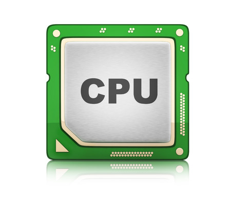 processor: CPU Central processor unit on white background (done in 3d rendering)