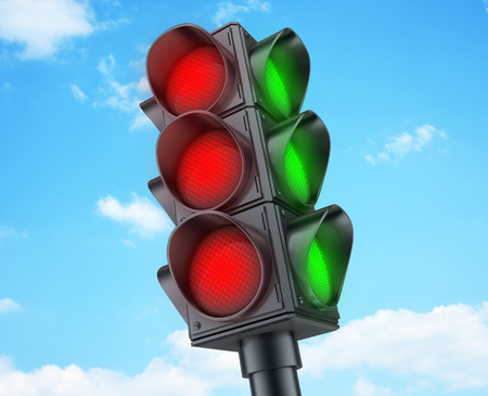 street symbols: Abstract Traffic lights red (done in 3d rendering)