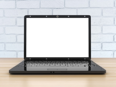 void: Laptop view front, empty screen (done in 3d rendering) Stock Photo