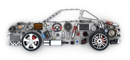 Abstract car and many vehicles parts (done in 3d rendering)