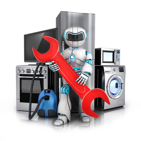 consumer electronics: Robot repair consumer electronics,Fridge,washer and electric-cooker (done in 3d rendering)