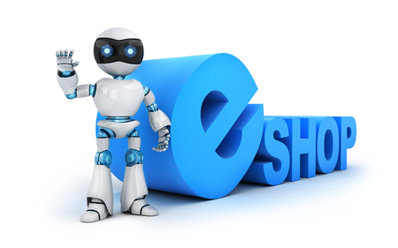 eshop: Robot and sign e-shop (done in 3d rendering) Stock Photo