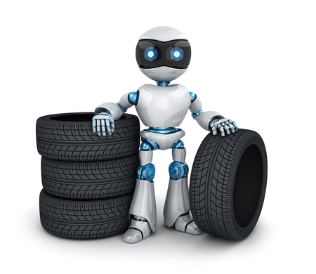 Modern robot and tire car (done in 3d rendering) Stock Photo