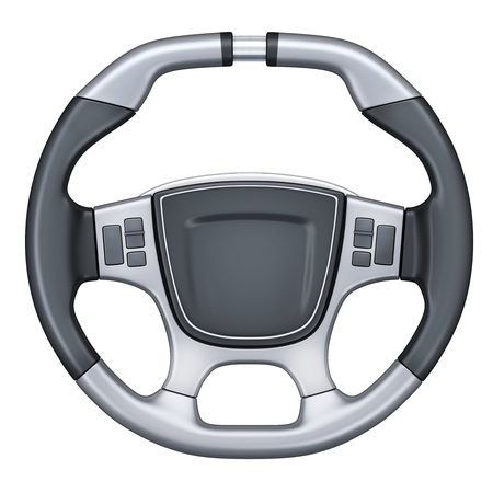 spare part: Steering wheel car isolated (done in 3d rendering) Stock Photo