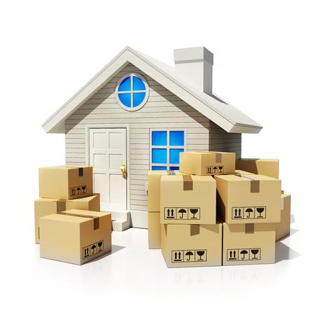 cajas de carton: Una gran cantidad de cajas de cartón para mover y el hogar (hecho en 3D)