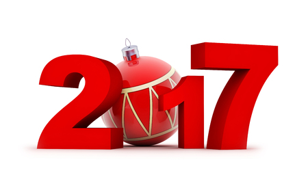 Sign new year 2017 (done in 3d rendering, white background)