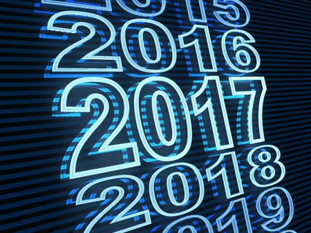 newyears: New year row date 2017, blue light (done in 3d rendering)