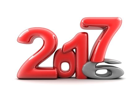 Funny new year 2017 (done in 3d rendering, white background) Stock Photo
