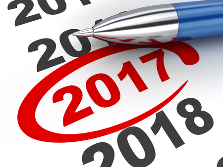 New year sign 2017 and pen (done in 3d rendering, white background) Stock Photo