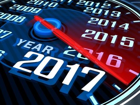 compteur de vitesse: Résumé nouvelle année tachymètre 2017 (fait dans le rendu 3d)