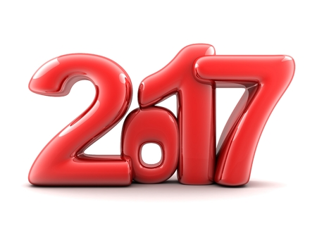newyears: Funny new year 2017 (done in 3d rendering,white background ) Stock Photo