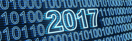 Abstract new year date 2017, binary (done in 3d rendering) Stock Photo