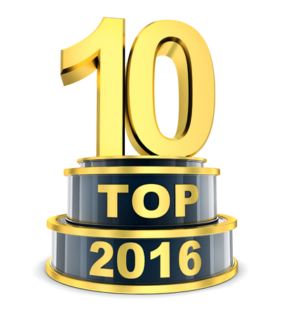 10: Top 10 of the year 2016 (done in 3d rendering) Stock Photo