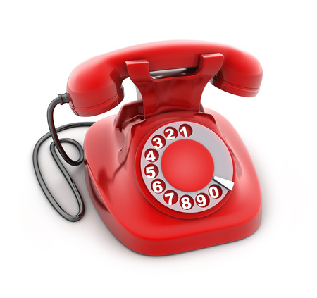 dialplate: Red old telephone on white background (done in 3d rendering)