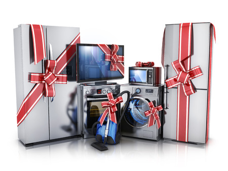 major household appliance: Gift modern consumer electronics,Fridge,washer and electric-cooker (done in 3d rendering)