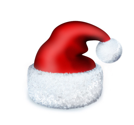 Red Cap santa on white background (done in 3d rendering) Stock Photo