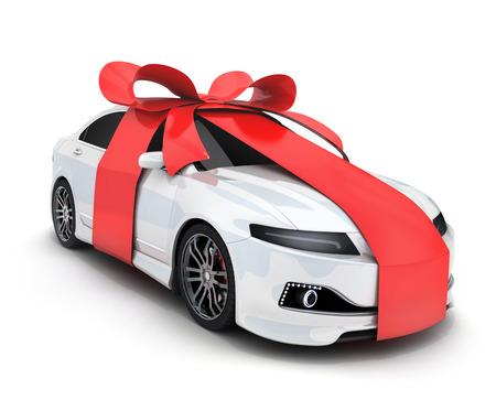 Coche y cinta de regalo sobre fondo blanco (hecho en 3D)