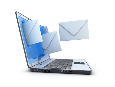 telegrama: Laptop and fly envelopes (done in 3d rendering)