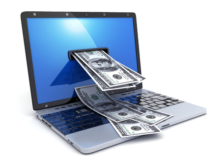 emoney: Laptop and abstract money on white background (done in 3d rendering)