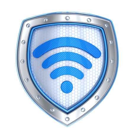 Shield, protect wi-fi symbol isolated (done in 3d rendering) Stock Photo