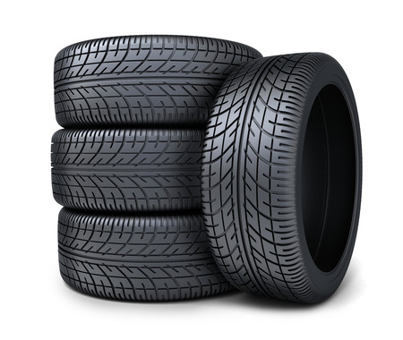 heap: Four tire car on white background (done in 3d rendering)