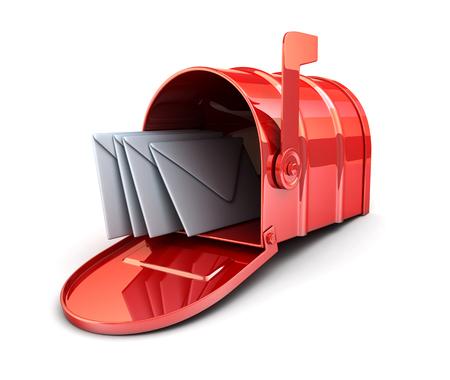 telegrama: Caja roja y el sobre (hecho en 3D)