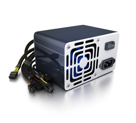 power supply unit: Computer power supply on white background (done in 3d rendering)