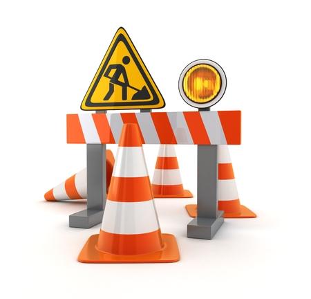 caution: Symbol repair road and orange cones (done in 3d rendering)