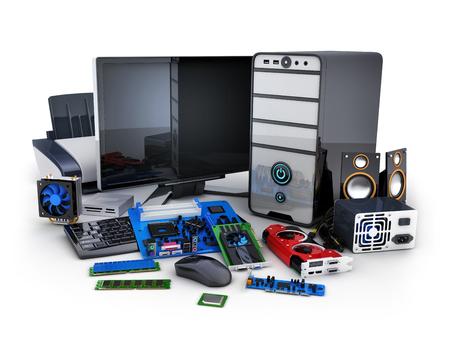 Computer en vele delen (gedaan in 3d rendering)