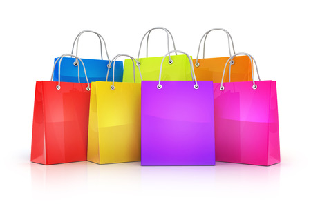 Many shopping bag (done in 3d rendering) Stock Photo