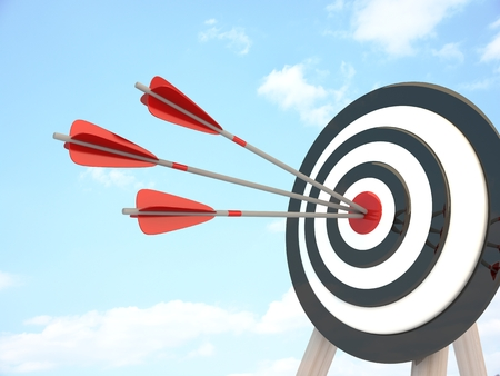 intention: Target and three arrow, abstract success (done in 3d rendering)