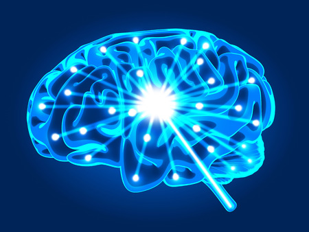 cns: Abstract human brain activity xray (done in 3d rendering)   Stock Photo