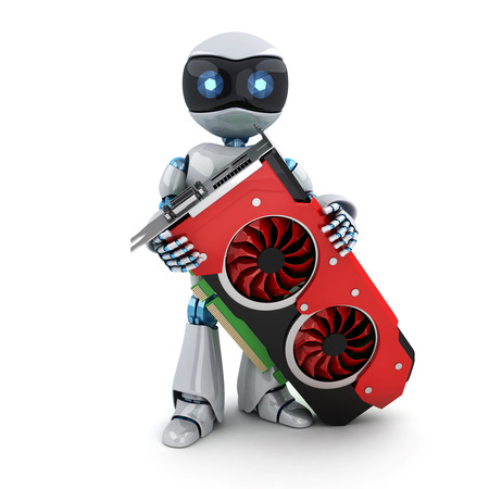 spare part: Robot and video card (done in 3d rendering)