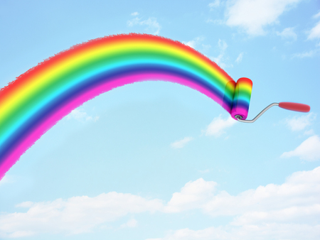 3d rainbow: Rainbow paint on sky (done in 3d rendering)