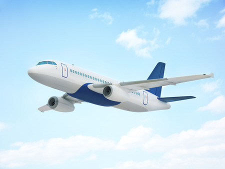 Flying airplane  in the sky (done in 3d rendering) Stock Photo
