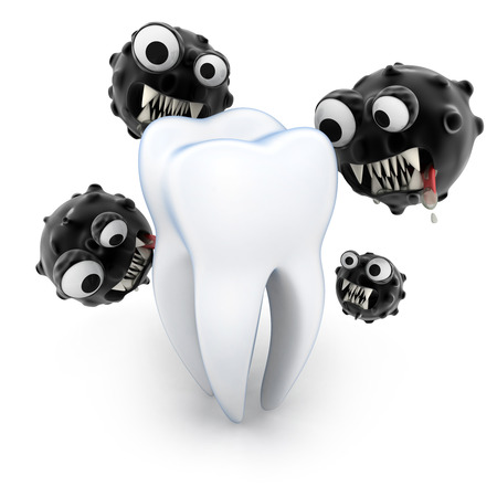 microbio: ataque de los dientes microbio (hecho en 3D) Foto de archivo
