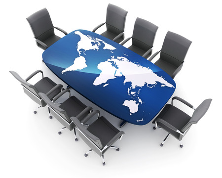 assemblage: Conference room and world map on table (done in 3d rendering)