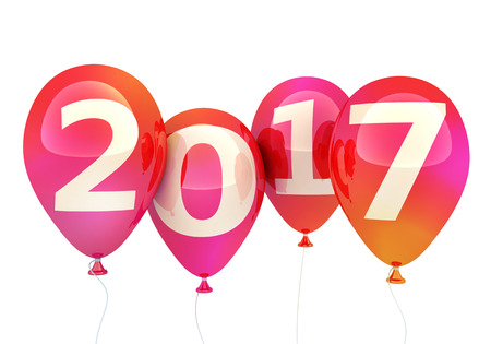 Sign new year 2017 on balloon (done in 3d rendering, white background) Stock Photo